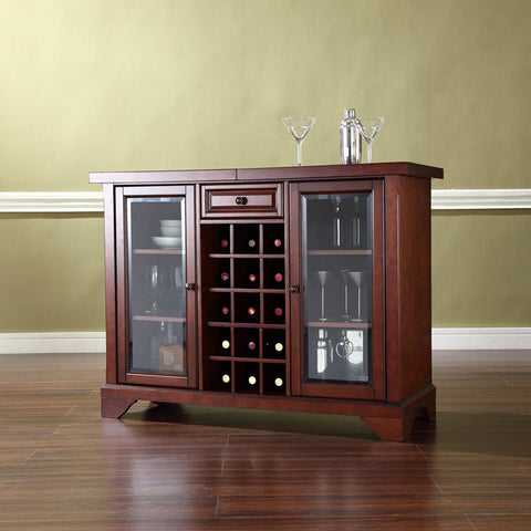 Crosley Furniture KF40002BMA LaFayette Sliding Top Bar Cabinet in Vintage Mahogany Finish - Peazz Furniture