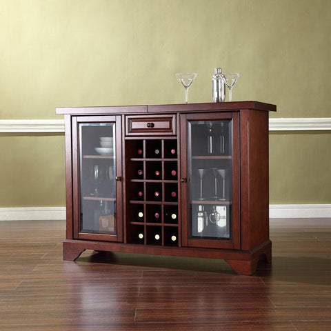 Bayden Hill KF40002BMA LaFayette Sliding Top Bar Cabinet in Vintage Mahogany Finish - Peazz.com