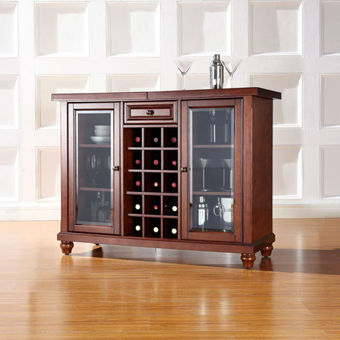 Crosley Furniture KF40002DMA Cambridge Sliding Top Bar Cabinet in Vintage Mahogany Finish - Peazz Furniture