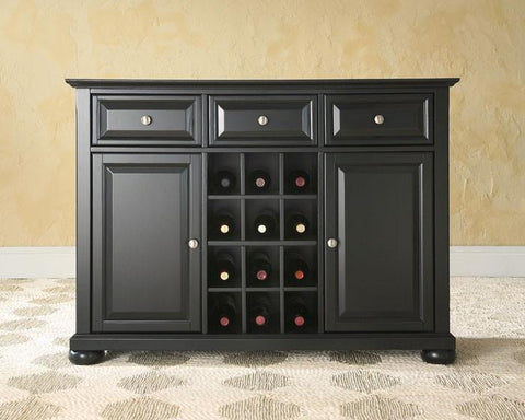 Bayden Hill KF42001ABK Alexandria Buffet Server / Sideboard Cabinet with Wine Storage in Black Finish - Peazz.com
