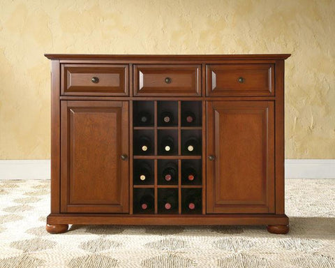 Bayden Hill KF42001ACH Alexandria Buffet Server / Sideboard Cabinet with Wine Storage in Classic Cherry Finish - Peazz.com