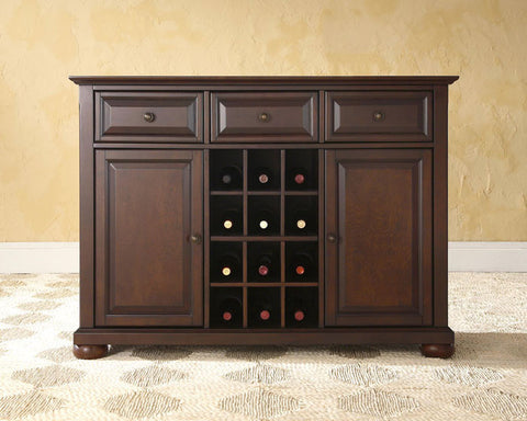 Crosley Furniture KF42001AMA Alexandria Buffet Server / Sideboard Cabinet with Wine Storage in Vintage Mahogany Finish - Peazz Furniture