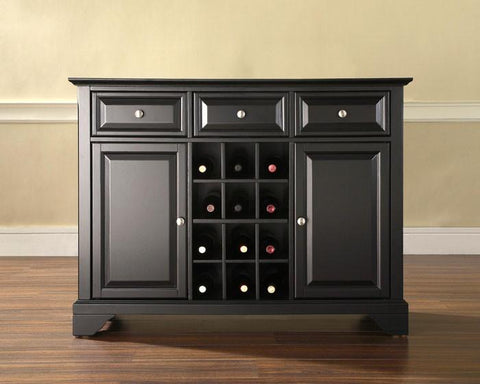 Bayden Hill KF42001BBK LaFayette Buffet Server / Sideboard Cabinet with Wine Storage in Black Finish - Peazz.com