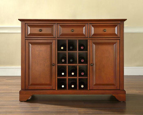 Bayden Hill KF42001BCH LaFayette Buffet Server / Sideboard Cabinet with Wine Storage in Classic Cherry Finish - Peazz.com