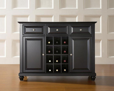 Bayden Hill KF42001DBK Cambridge Buffet Server / Sideboard Cabinet with Wine Storage in Black Finish - Peazz.com