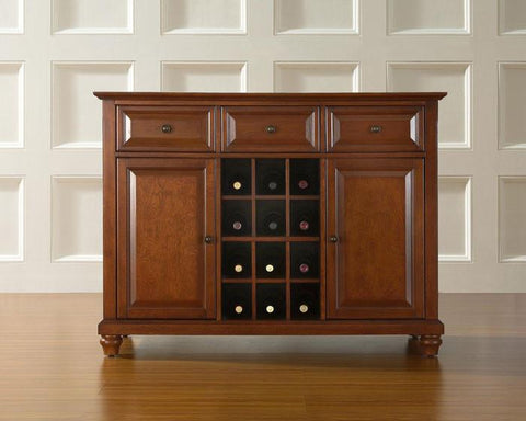 Bayden Hill KF42001DCH Cambridge Buffet Server / Sideboard Cabinet with Wine Storage in Classic Cherry Finish - Peazz.com