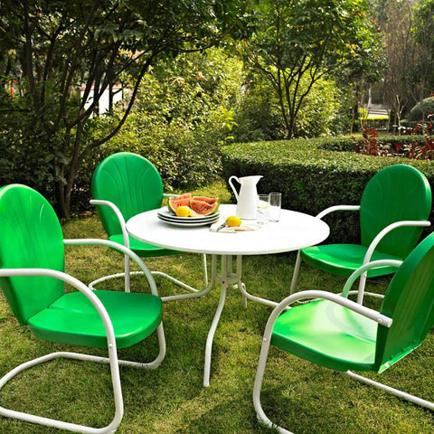 "Bayden Hill KOD1001WH Griffith Metal 40"" Five Piece Outdoor Dining Set - 40"" Dining Table in White Finish with Grasshopper Green Finish Chairs - Peazz.com"