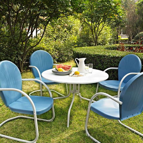 "Bayden Hill KOD1002WH Griffith Metal 40"" Five Piece Outdoor Dining Set - 40"" Dining Table in White Finish with Sky Blue Finish Chairs - Peazz.com"