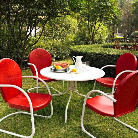 "Bayden Hill KOD1003WH Griffith Metal 40"" Five Piece Outdoor Dining Set - 40"" DiningTable in White Finish with Red Finish Chairs - Peazz.com"