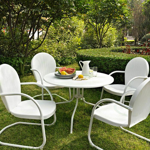 "Bayden Hill KOD1004WH Griffith Metal 40"" Five Piece Outdoor Dining Set - 40"" Dining Table in White Finish with White Finish Chairs - Peazz.com"