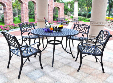 "Bayden Hill KOD6001BK Sedona 48"" Five Piece Cast Aluminum Outdoor Dining Set with Arm Chairs in Black Finish - Peazz.com"