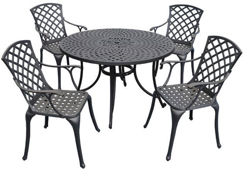 "Bayden Hill KOD6002BK Sedona 48"" Five Piece Cast Aluminum Outdoor Dining Set with High Back Arm Chairs in Black Finish - Peazz.com"