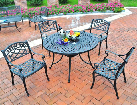 "Bayden Hill KOD6003BK Sedona 42"" Five Piece Cast Aluminum Outdoor Dining Set with Arm Chairs in Black Finish - Peazz.com"