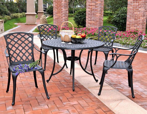 "Bayden Hill KOD6004BK Sedona 42"" Five Piece Cast Aluminum Outdoor Dining Set with High Back Arm Chairs in Black Finish - Peazz.com"