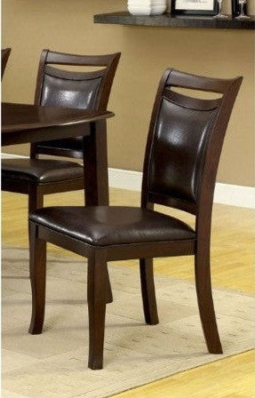 Furniture of America IDF-3024SC Leatherette Dining Side Chair in Dark Cherry (Set of 2) - Peazz Furniture