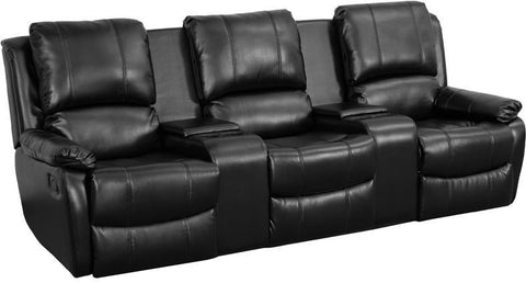 Flash Furniture BT-70295-3-BK-GG Black Leather Pillowtop 3-Seat Home Theater Recliner with Storage Consoles - Peazz Furniture
