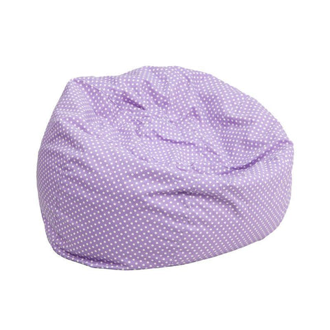 Flash Furniture DG-BEAN-SMALL-DOT-PUR-GG Small Lavender Dot Kids Bean Bag Chair - Peazz Furniture