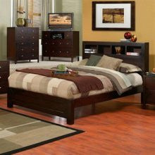 Alpine SK-01Q Queen Bed W/ Bookcase Headboard - Peazz Furniture