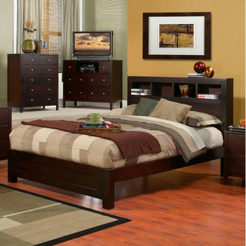 Alpine SK-07CK California King Bed W/ Bookcase Headboard - Peazz Furniture