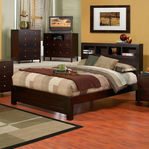 Alpine SK-08F Full Bed W/ Bookcase Headboard - Peazz Furniture