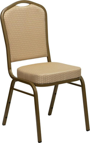 HERCULES Series Crown Back Stacking Banquet Chair with Beige Patterned Fabric and 2.5'' Thick Seat - Gold Frame FD-C01-ALLGOLD-H20124E-GG by Flash Furniture - Peazz Furniture