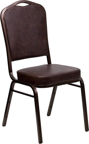 Flash Furniture FD-C01-COPPER-BRN-VY-GG HERCULES Series Crown Back Stacking Banquet Chair with Brown Vinyl and 2.5'' Thick Seat - Copper Vein Frame - Peazz Furniture