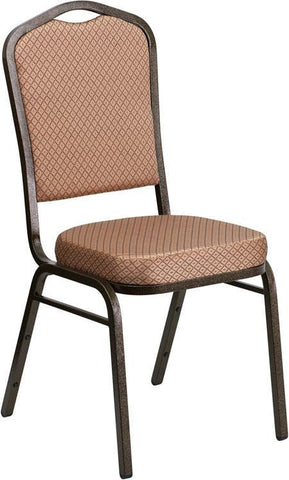 Flash Furniture FD-C01-GOLDVEIN-GO-GG HERCULES Series Crown Back Stacking Banquet Chair with Gold Diamond Patterned Fabric and 2.5'' Thick Seat - Gold Vein Frame - Peazz Furniture