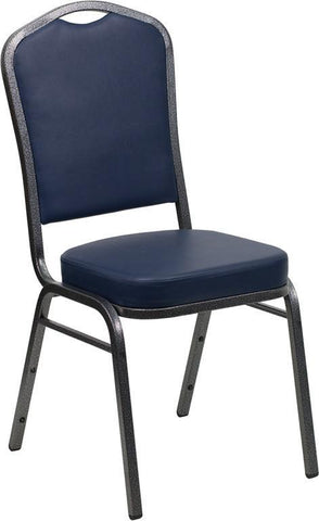 Flash Furniture FD-C01-SILVERVEIN-NY-VY-GG HERCULES Series Crown Back Stacking Banquet Chair with Navy Vinyl and 2.5'' Thick Seat - Silver Vein Frame - Peazz Furniture