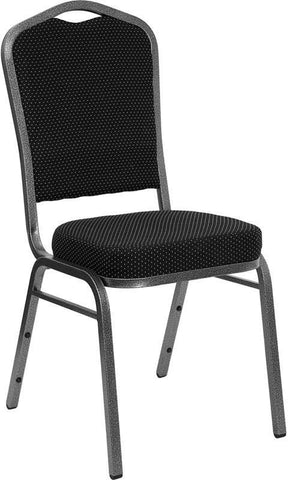 HERCULES Series Crown Back Stacking Banquet Chair with Black Patterned Fabric and 2.5'' Thick Seat - Silver Vein Frame FD-C01-SILVERVEIN-S076-GG by Flash Furniture - Peazz Furniture