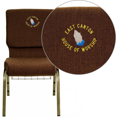 Flash Furniture FD-CH02185-GV-10355-BAS-EMB-GG Embroidered HERCULES Series 18.5'' Wide Brown Church Chair with 4.25'' Thick Seat, Communion Cup Book Rack - Gold Vein Frame - Peazz Furniture