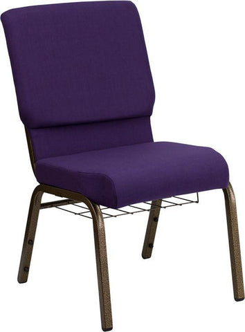 Flash Furniture FD-CH02185-GV-ROY-BAS-GG HERCULES Series 18.5'' Wide Royal Purple Church Chair with 4.25'' Thick Seat, Communion Cup Book Rack - Gold Vein Frame - Peazz Furniture