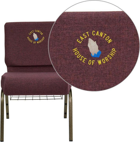 Flash Furniture FD-CH0221-4-GV-005-BAS-EMB-GG Embroidered HERCULES Series 21'' Extra Wide Plum Church Chair with 4'' Thick Seat, Communion Cup Book Rack - Gold Vein Frame - Peazz Furniture