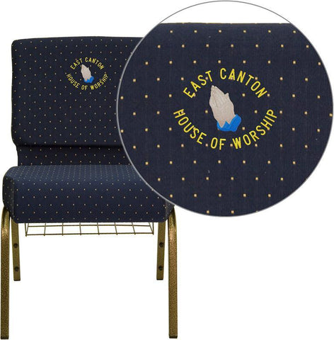 Flash Furniture FD-CH0221-4-GV-S0810-BAS-EMB-GG Embroidered HERCULES Series 21'' Extra Wide Navy Blue Dot Patterned Church Chair with 4'' Thick Seat, Communion Cup Book Rack - Gold Vein Frame - Peazz Furniture