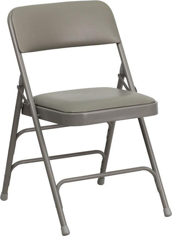 HERCULES Series Curved Triple Braced & Quad Hinged Gray Vinyl Upholstered Metal Folding Chair HA-MC309AV-GY-GG by Flash Furniture - Peazz Furniture