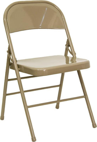 HERCULES Series Triple Braced & Quad Hinged Beige Metal Folding Chair HF3-MC-309AS-BGE-GG by Flash Furniture - Peazz Furniture