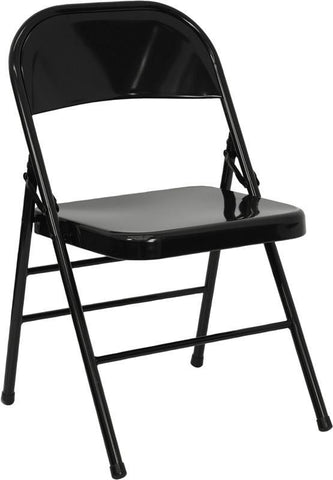 HERCULES Series Triple Braced & Quad Hinged Black Metal Folding Chair HF3-MC-309AS-BK-GG by Flash Furniture - Peazz Furniture