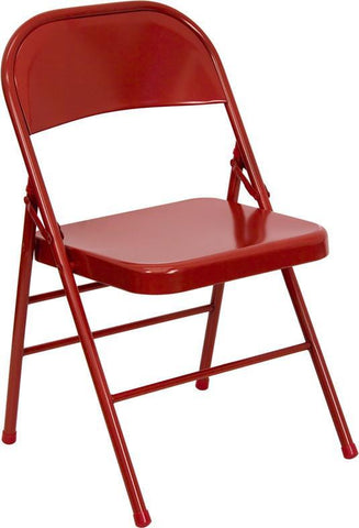 HERCULES Series Triple Braced & Quad Hinged Red Metal Folding Chair HF3-MC-309AS-RED-GG by Flash Furniture - Peazz Furniture