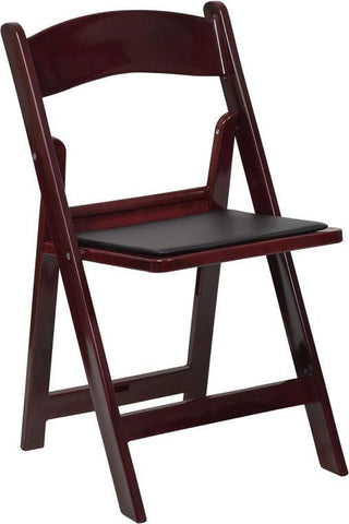 HERCULES Series 1000 lb. Capacity Mahogany Resin Folding Chair with Black Vinyl Padded Seat LE-L-1-MAH-GG by Flash Furniture - Peazz Furniture