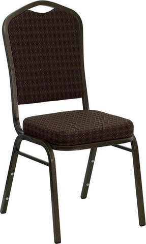 HERCULES Series Crown Back Stacking Banquet Chair with Brown Patterned Fabric and 2.5'' Thick Seat - Gold Vein Frame NG-C01-BROWN-GV-GG by Flash Furniture - Peazz Furniture
