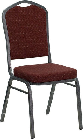 HERCULES Series Crown Back Stacking Banquet Chair with Burgundy Patterned Fabric and 2.5'' Thick Seat - Silver Vein Frame NG-C01-HTS-2201-SV-GG by Flash Furniture - Peazz Furniture