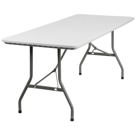 30''W x 72''L Granite White Plastic Folding Table RB-3072-GG by Flash Furniture - Peazz Furniture