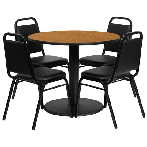 Flash Furniture RSRB1003-GG 36'' Round Natural Laminate Table Set with 4 Black Trapezoidal Back Banquet Chairs - Peazz Furniture