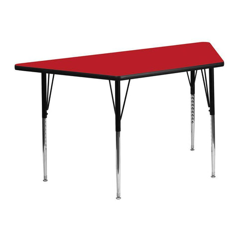 Flash Furniture XU-A2448-TRAP-RED-H-A-GG 24''W x 48''L Trapezoid Activity Table with 1.25'' Thick High Pressure Red Laminate Top and Standard Height Adjustable Legs - Peazz Furniture