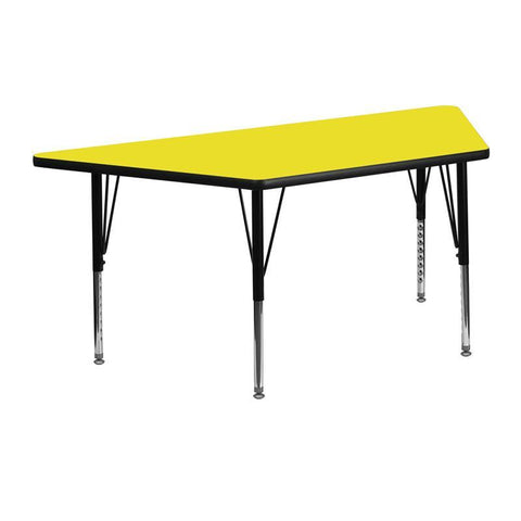 Flash Furniture XU-A2448-TRAP-YEL-H-P-GG 24''W x 48''L Trapezoid Activity Table with 1.25'' Thick High Pressure Yellow Laminate Top and Height Adjustable Pre-School Legs - Peazz Furniture