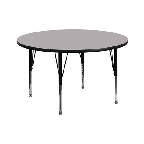 Flash Furniture XU-A42-RND-GY-T-P-GG 42'' Round Activity Table with Grey Thermal Fused Laminate Top and Height Adjustable Pre-School Legs - Peazz Furniture