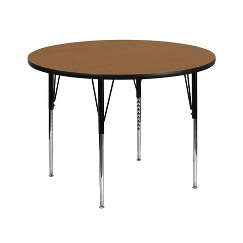 Flash Furniture XU-A42-RND-OAK-T-A-GG 42'' Round Activity Table with Oak Thermal Fused Laminate Top and Standard Height Adjustable Legs - Peazz Furniture