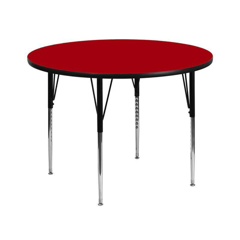 Flash Furniture XU-A42-RND-RED-T-A-GG 42'' Round Activity Table with Red Thermal Fused Laminate Top and Standard Height Adjustable Legs - Peazz Furniture