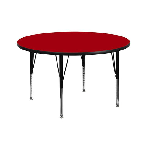 Flash Furniture XU-A42-RND-RED-T-P-GG 42'' Round Activity Table with Red Thermal Fused Laminate Top and Height Adjustable Pre-School Legs - Peazz Furniture