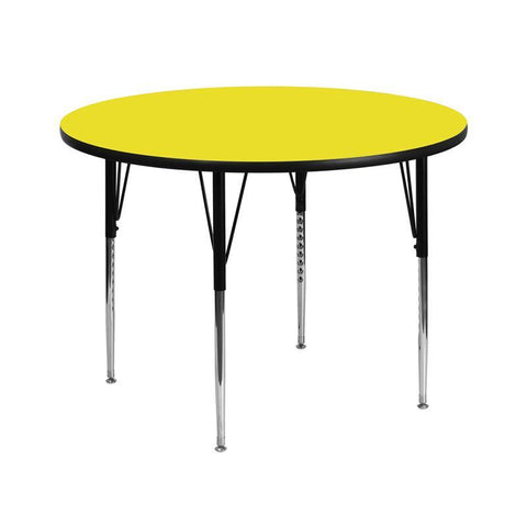 Flash Furniture XU-A42-RND-YEL-H-A-GG 42'' Round Activity Table with 1.25'' Thick High Pressure Yellow Laminate Top and Standard Height Adjustable Legs - Peazz Furniture