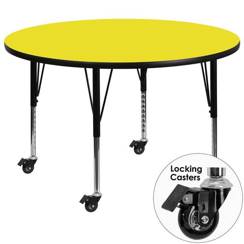 Flash Furniture XU-A42-RND-YEL-H-P-CAS-GG Mobile 42'' Round Activity Table with 1.25'' Thick High Pressure Yellow Laminate Top and Height Adjustable Pre-School Legs - Peazz Furniture